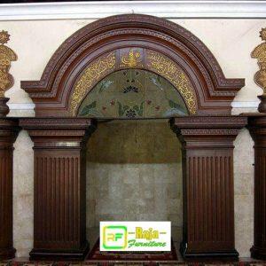 Mihrob Masjid Model Terbaru Kayu Jati, mihrob masjid arab, mihrob masjid murah, desain mihrob masjid, ukiran mihrob masjid