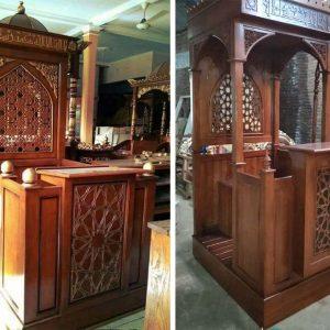 Mimbar Masjid Model Minimalis Terbaru, mimbar masjid, mimbar terbaru, mimbar kayu jati, mimbar ukiran, mimbar murah, harga mimbar, mihrob masjid