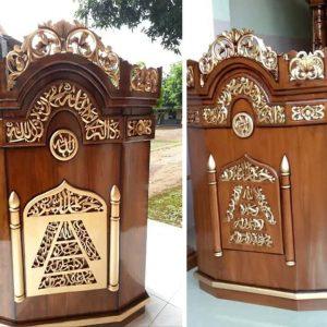 Mimbar Masjid Ukiran Kayu Jati Terbaru, mimbar murah, mimbar jati, mihrob, furniture jati