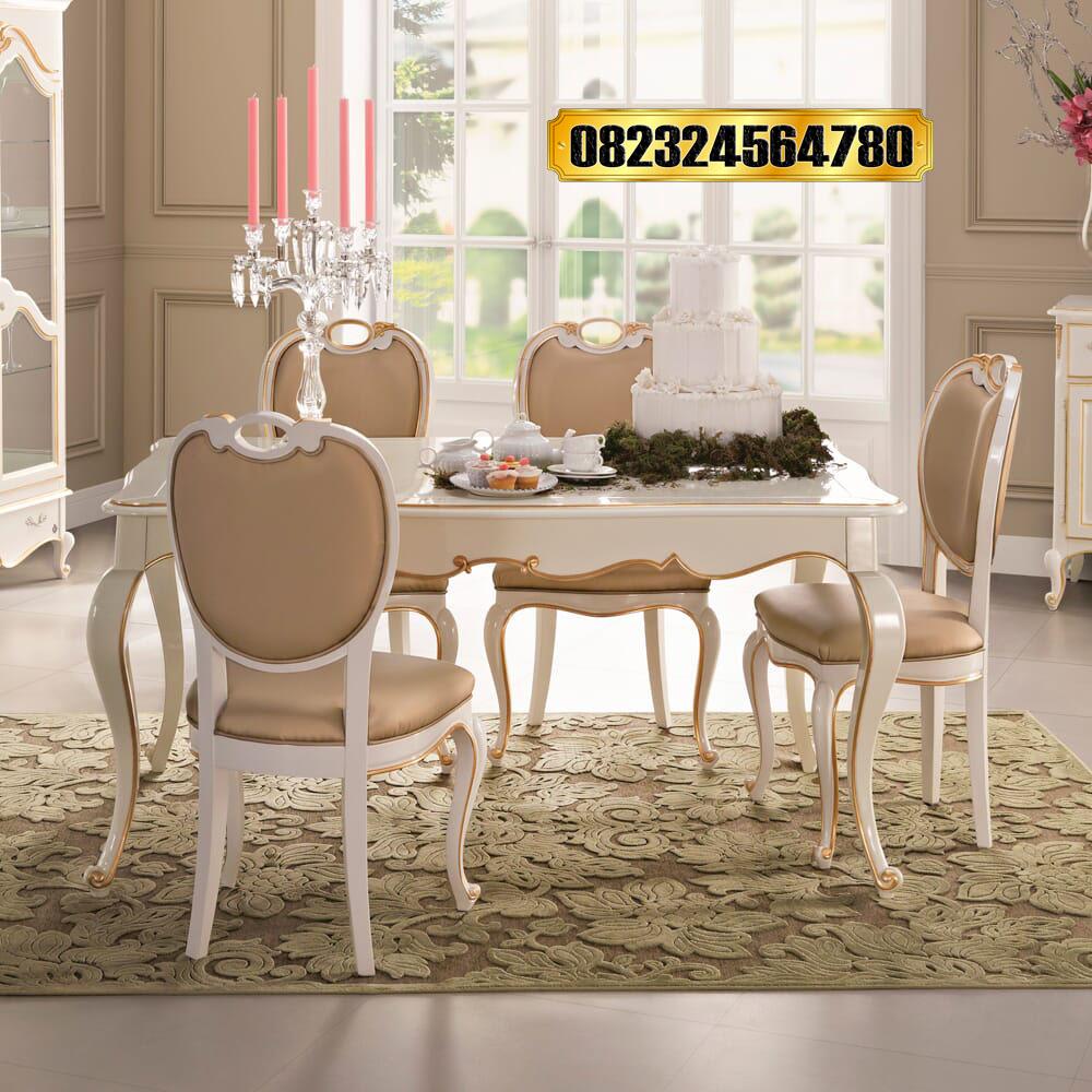 Set Meja Kursi Makan Elegan Desain Mewah Terbaru Raja Furniture